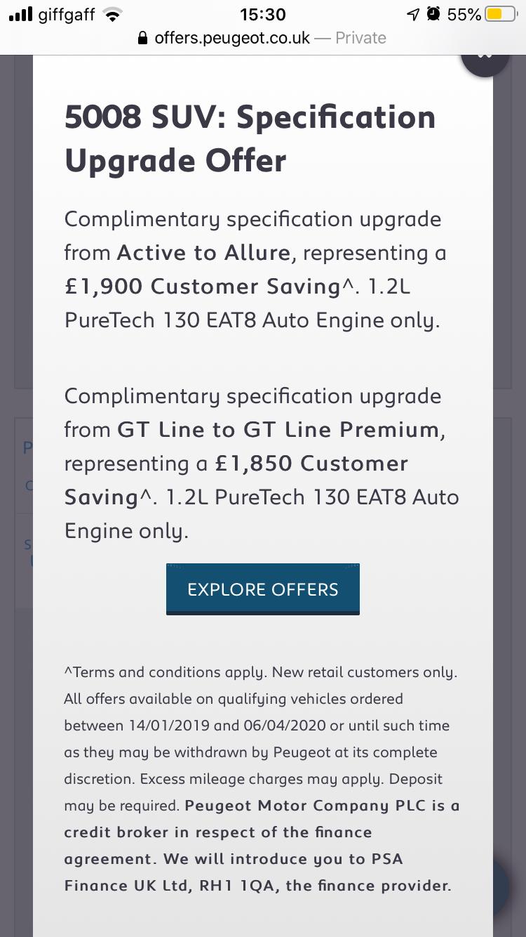 Peugeot 5008 GT Line offer