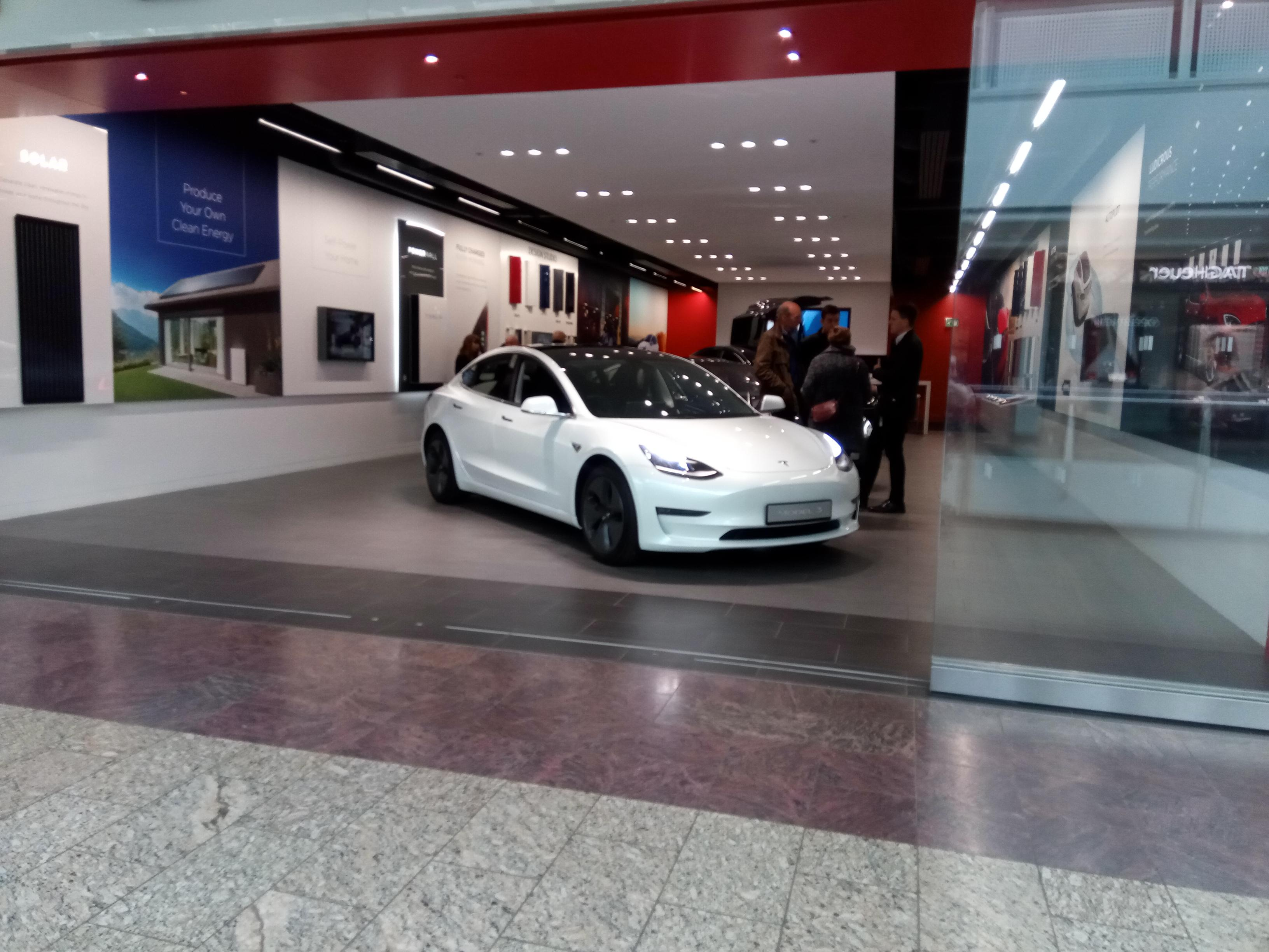 Tesla in a shop